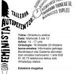 Autodefentsa feminista tailerra martxoaren 5ean eta 12an